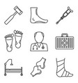 podiatrist care icons set outline style vector image vector image