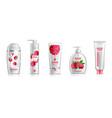 raspberry cosmetics set realistic shampoo vector image vector image