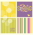 retro spring flowers doodles and stripes vector image vector image
