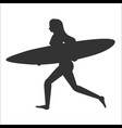 running surfer woman with surfboard vector image vector image