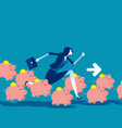 saving money concept running with piggy bank vector image vector image