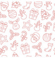 seamless christmas thin line icons background vector image