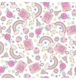 seamless pattern with rainbow and cupcakes vector image