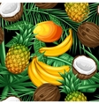 Seamless pattern with tropical fruits and leaves vector image vector image