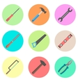 set of tools in the colored circles vector image