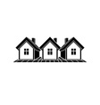 Simple monochrome cottages black and white vector image vector image