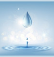 texture clean drop of water with splashes stock vector image vector image
