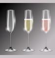 transparent champagne glass flute vector image vector image
