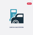 two color car in a gas station icon from vector image