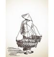 Woman carrying a yoke vector image vector image