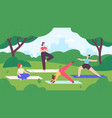 yoga in city park group women do exercise and vector image vector image