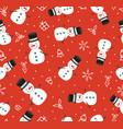 merry christmas cute snowman seamless pattern vector image