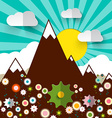 Mountains with Flowers Retro Flat Design vector image