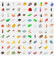 100 tourism icons set isometric 3d style vector image vector image