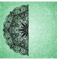 Abstract green background with black lacy mandala vector image vector image