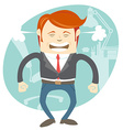 Angry office man in front of his working place vector image vector image