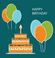 birthday postcard design flat style vector image