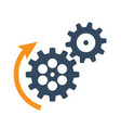 black rotating cogwheels icon flat design vector image