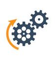 black rotating cogwheels icon flat design vector image