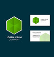 business card template with green hexagon logo vector image
