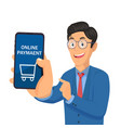 businessman holding smart phone and showing screen vector image vector image