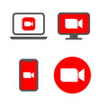 camera icons live media streaming application for vector image vector image