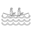 Canoe kayak with two persons icon simple style vector image vector image