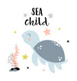 card with cute turtle isolated on white sea child vector image vector image