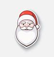 cartoon sticker with face santa claus vector image