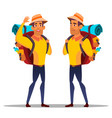 character man hiker with large backpack vector image