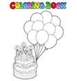 coloring book with birthday cake 1 vector image vector image