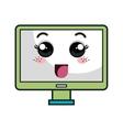 Computer monitor kawaii cartoon