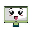 Computer monitor kawaii cartoon vector image