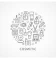 Cosmetics with icons and signs vector image vector image