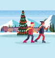 couple skating ice rink decorated christmas tree vector image vector image