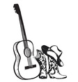 cowboy boots and music guitar isolated on white vector image vector image