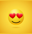 emoticon in love with red heart shaped eyes vector image vector image