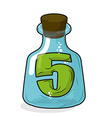 Five in magic jar Figure 5 in laboratory bottle vector image