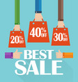 flat design best sale shopping bag vector image