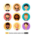 flat icons avatars office business people set vector image
