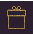Gift box icon Present symbol Gold sparkles and vector image