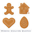 gingerbread cookies isolated on white vector image