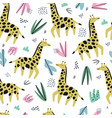 giraffe flat hand drawn color seamless pattern vector image vector image