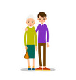 grandmother young man young guy is standing next vector image vector image