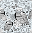 graphic pattern of owls and butterflies vector image vector image