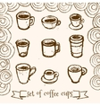 Hand drawn tea and coffee cups vector image