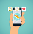 Hand holding mobile smart phone app with track vector image vector image