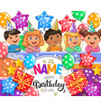 happy birthday bright banner with your name vector image