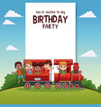 happy birthday card with kids on train vector image vector image