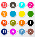 Happy Holidays Colorful Circles Title vector image